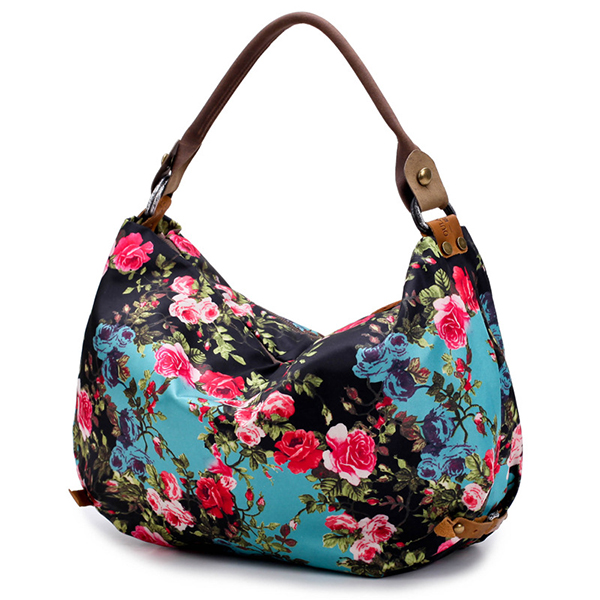 Brenice Cowhide National Floral Printing Women Crossbody Bag