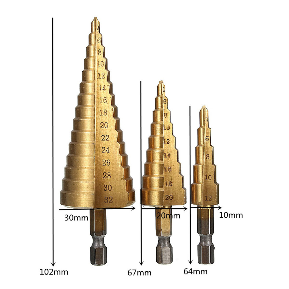 Drillpro 3pcs 4-12/20/32mm HSS Titanium Step Cone Drill Bit Hex Shank Hole Cutter