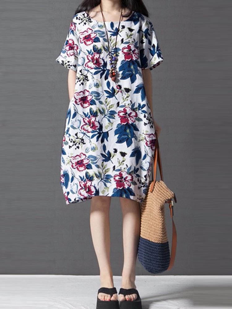 Vintage Women Loose Printing Short Sleeve Dress