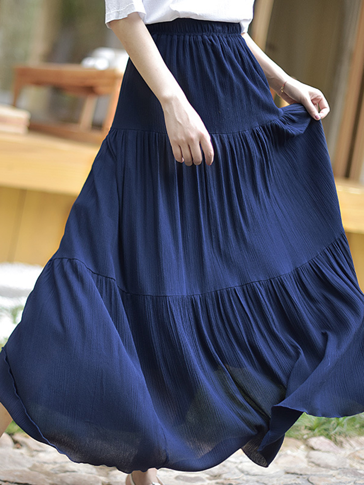 Women Solid Elastic Waist Big Swing Pleated Skirts