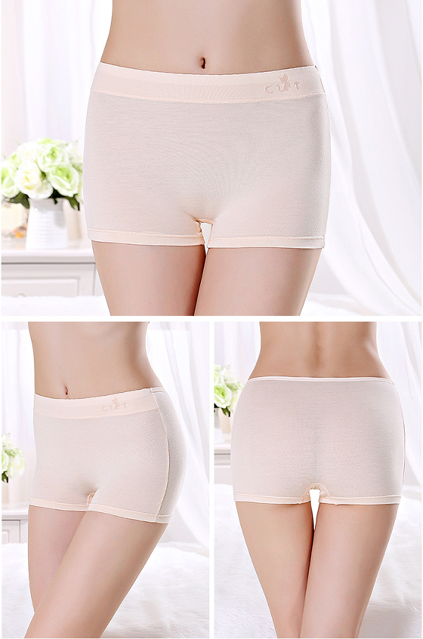 Women Cosy Modal Elastic Solid Color Mid Waist Boyshorts Panties