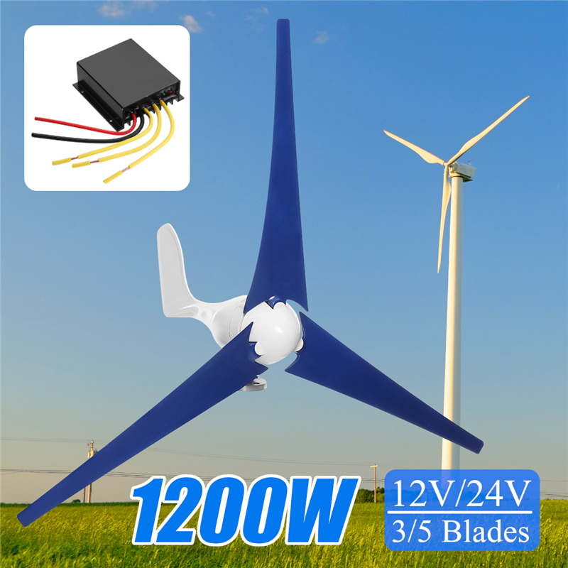 1200W Wind Turbine Generator 12V/24V 3/5 Blades With Charge Controller Wind Generator kit