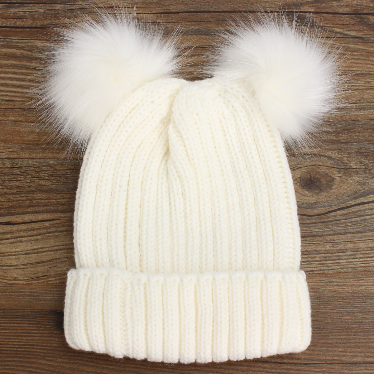 Women Outdoor Knitted Double Fur Pom-poms Beanie Cap