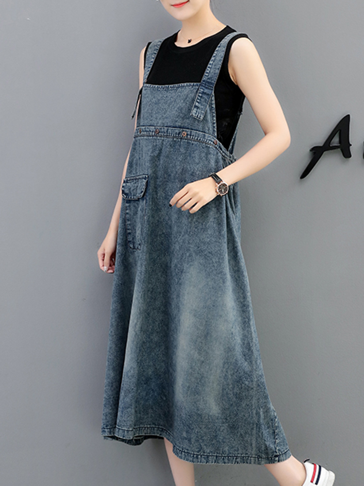 Demin Elastic Waist Pocket Suspender Dress