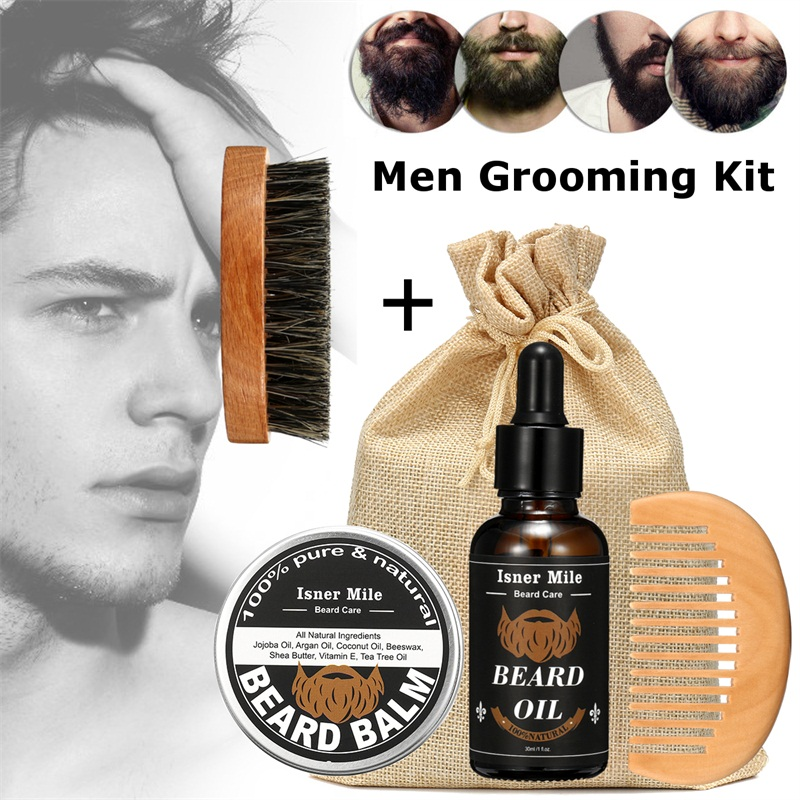 1 Set Shaving Tool Barber Oil Brush Comb Wax Balm for Men