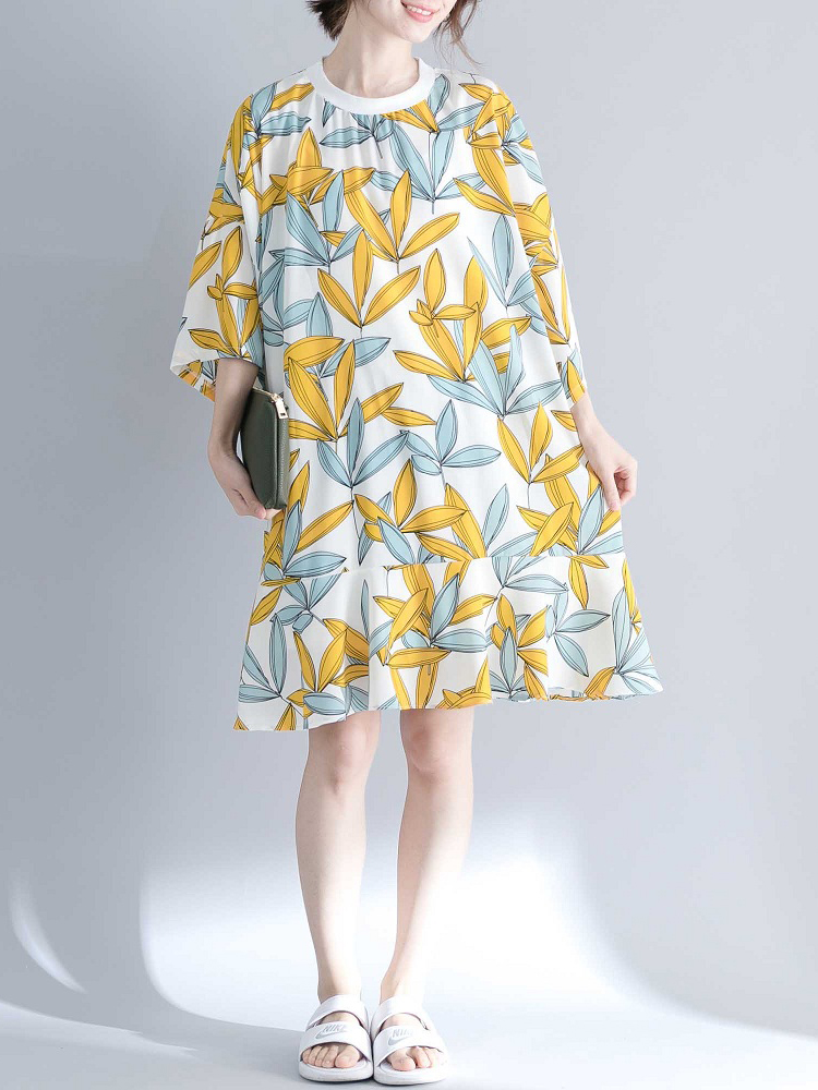 Women Leaves Print O-neck Half Sleeves Dress