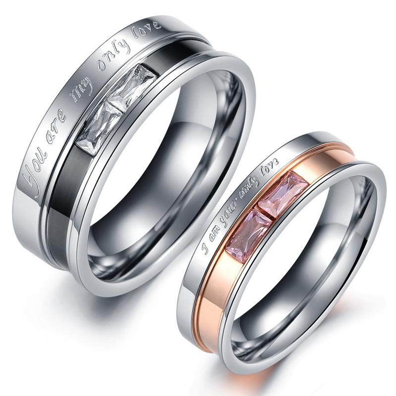 Sweet Stainless Steel Couple Ring Crystal Rose Finger Ring