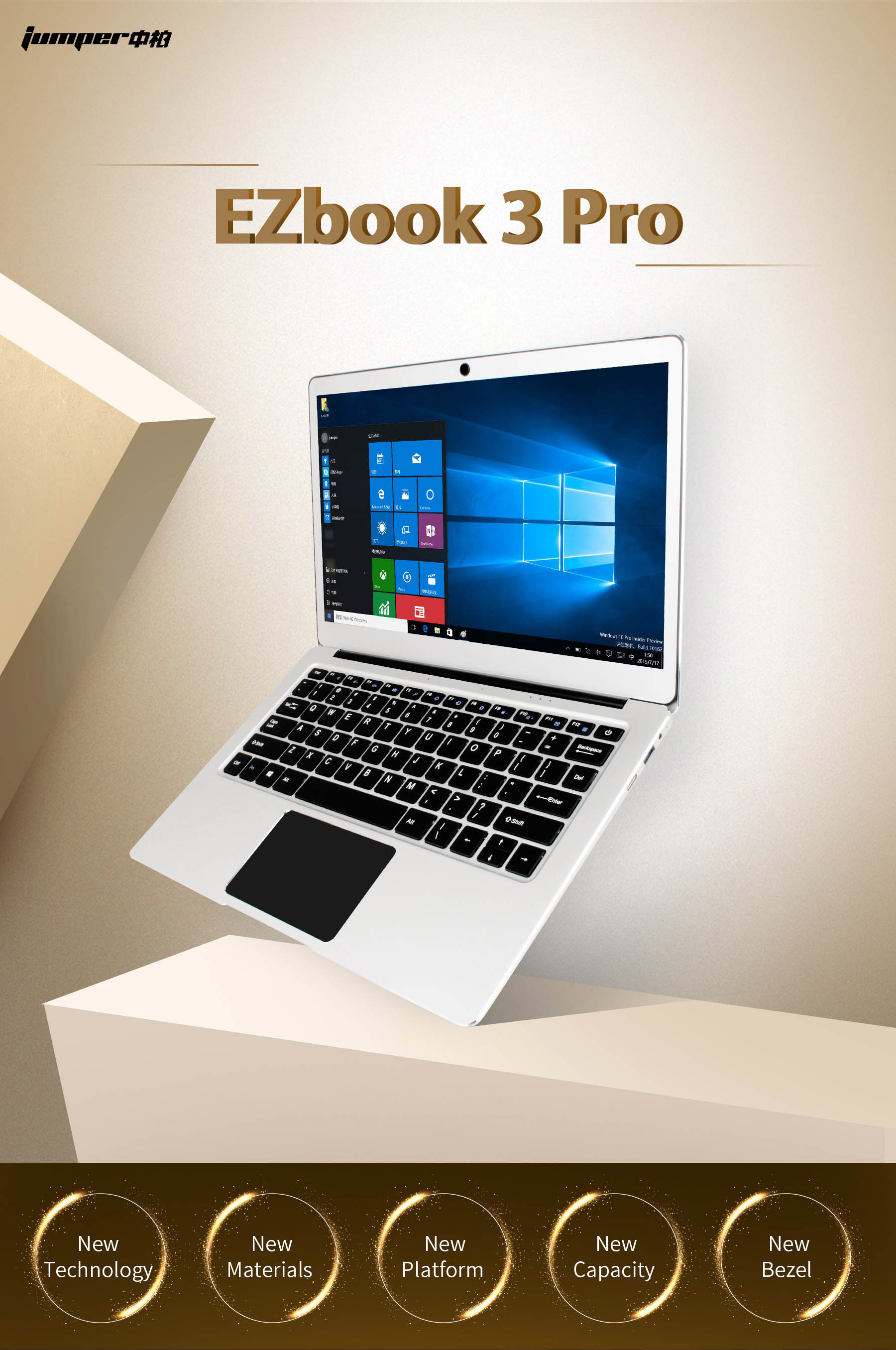 Jumper EZBOOK 3 PRO 13.3 Inch Notebook Windows 10 Intel Apollo Lake N3450 Quad Core 6GB RAM 64G eMMC / 128GB