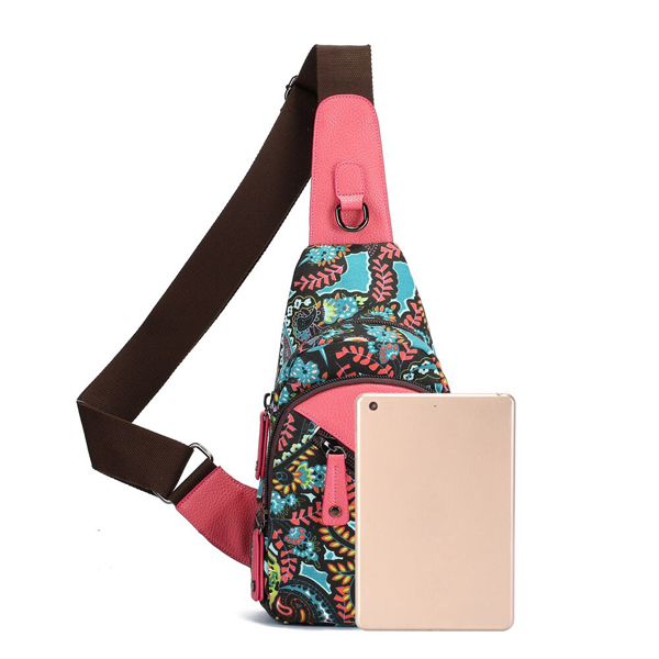 Brenice National Floral Light Women Sling Bag Chest Bag