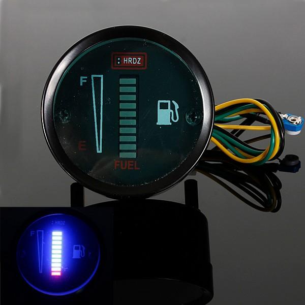 Motorcycle Automobile Aluminum Alloy LED Fuel Level Meter Gauge