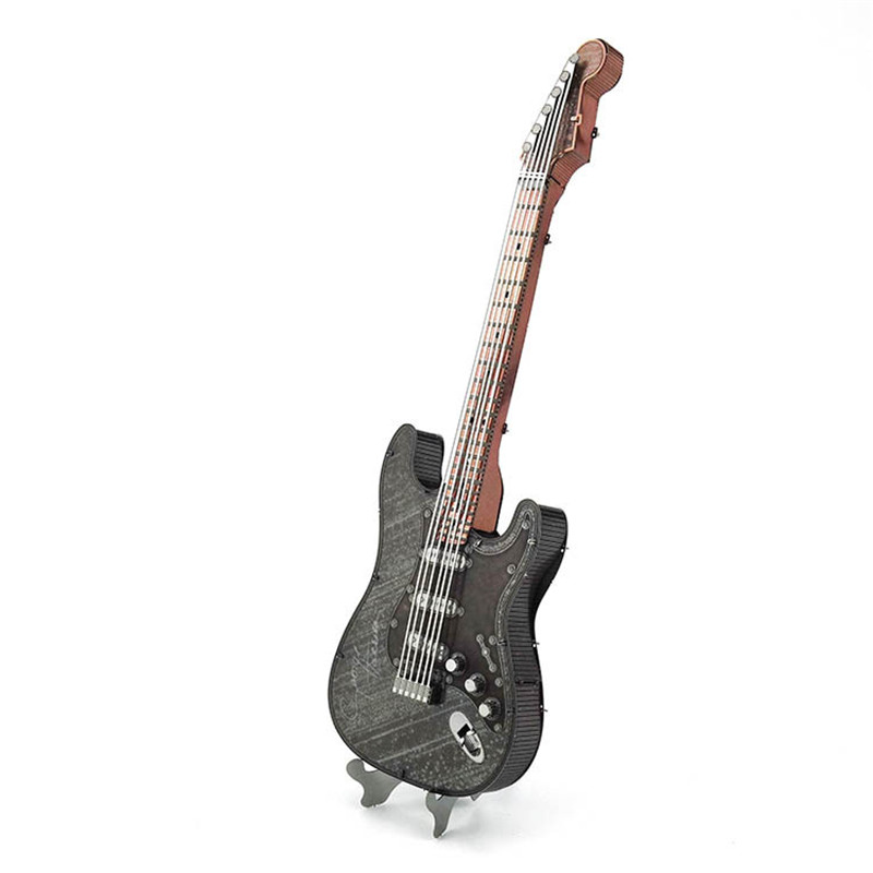Aipin DIY 3D Metal Guitar Puzzle Stainless Steel Model Building Kit Collection Gift