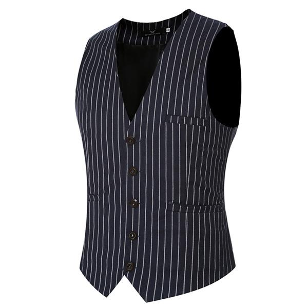 Mens Casual Vertical Stripes Business Slim Short Waistcoats V-neck Dress Suit Vest