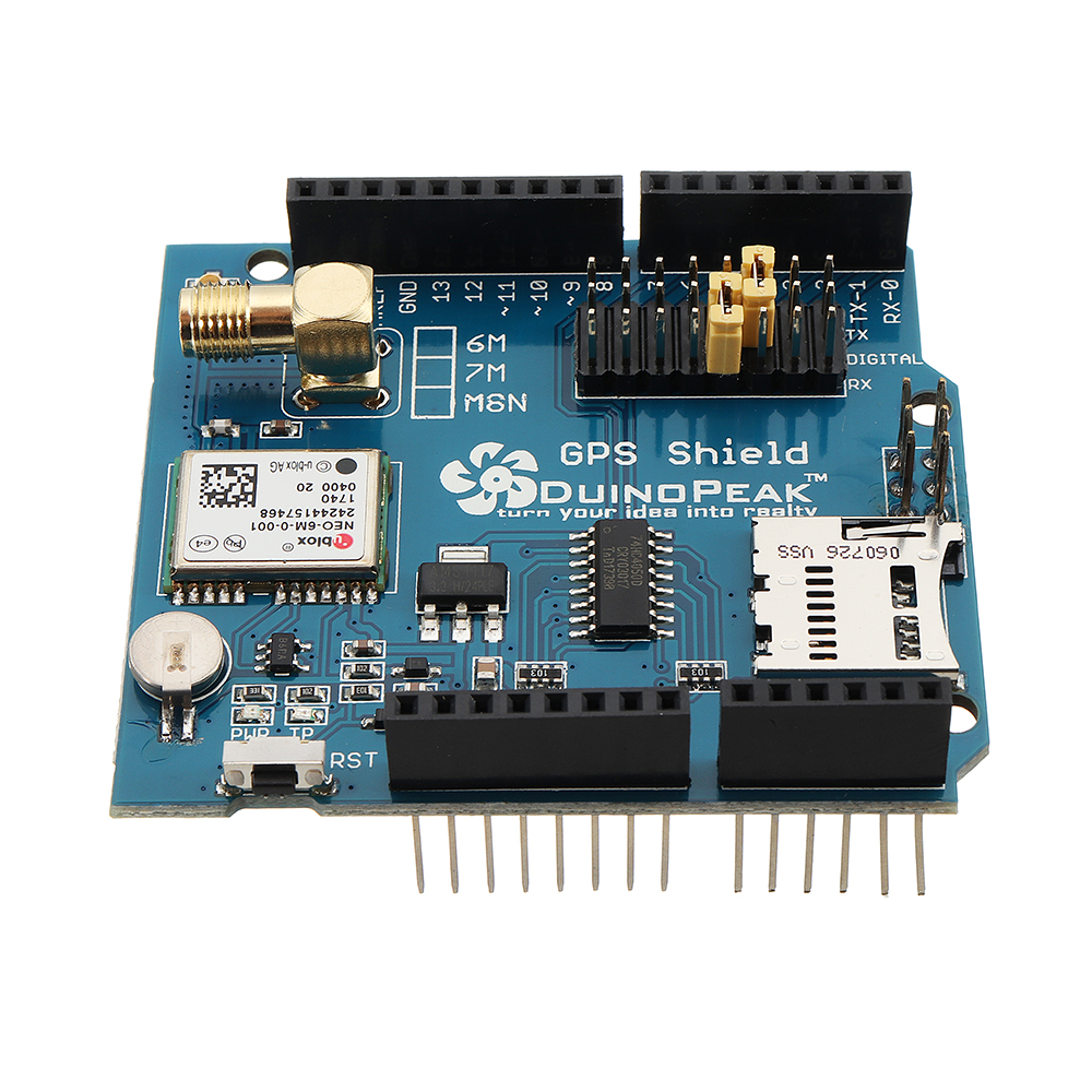 Duinopeak® GPS Shield Expansion Board With SD Card Slot Active GPS Antenna Module
