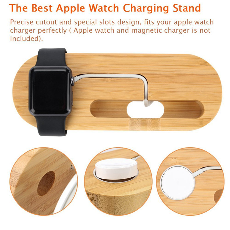 Wooden Anti-slip Charging Dock Cable Organized Desktop Phone Holder for Smart Phone Apple Watch