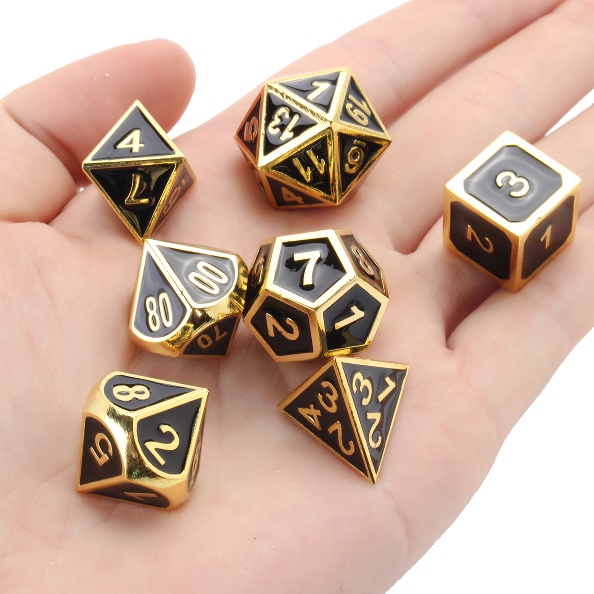7Pcs Gold Dice Zinc Alloy Metal Polyhedral Role Multi-s