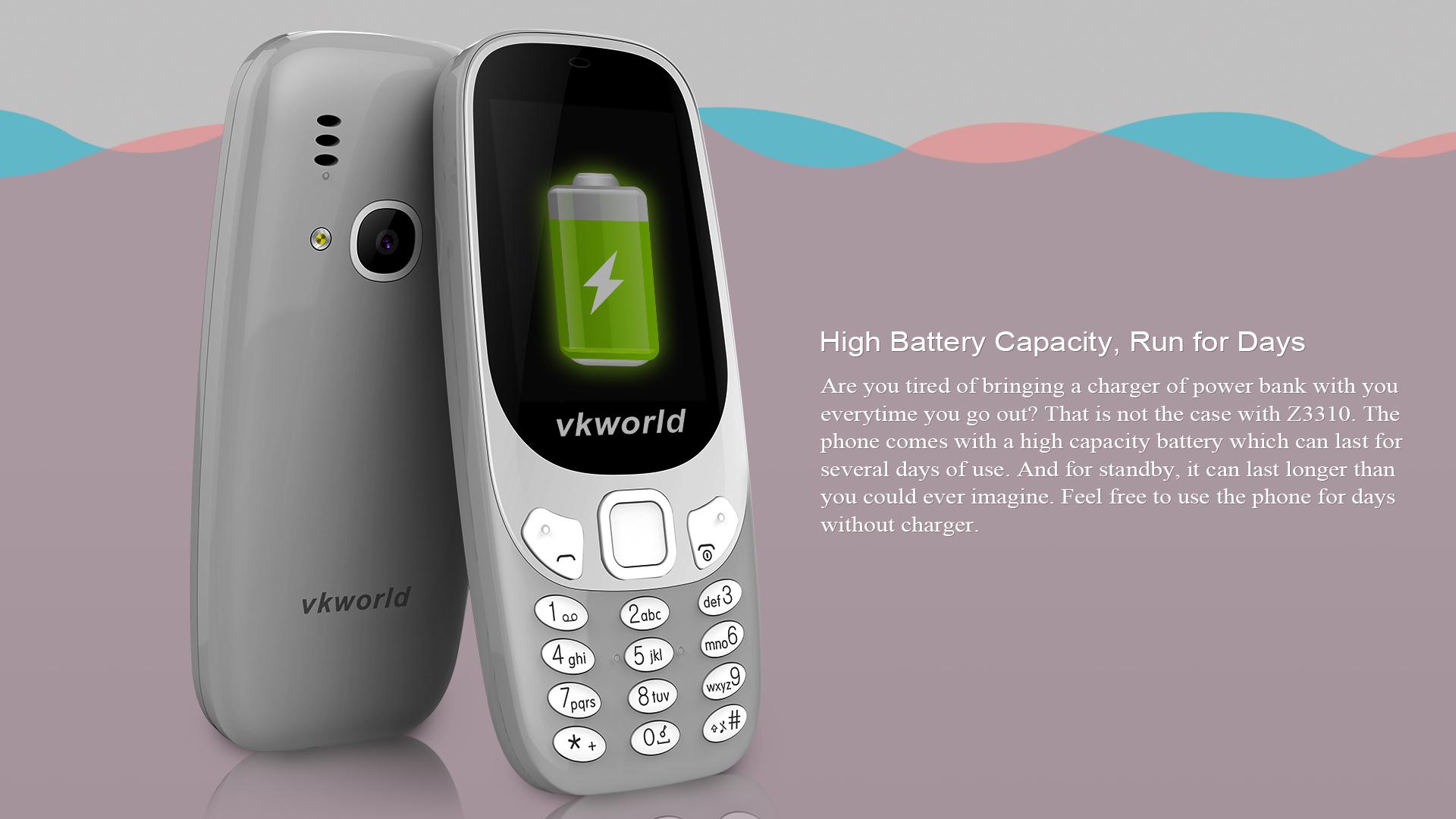 VKWORLD Z3310 2.4 Inch 3D Screen 1450mAh 2MP FM Dual Sim Card Dual Standby Mobile Phone