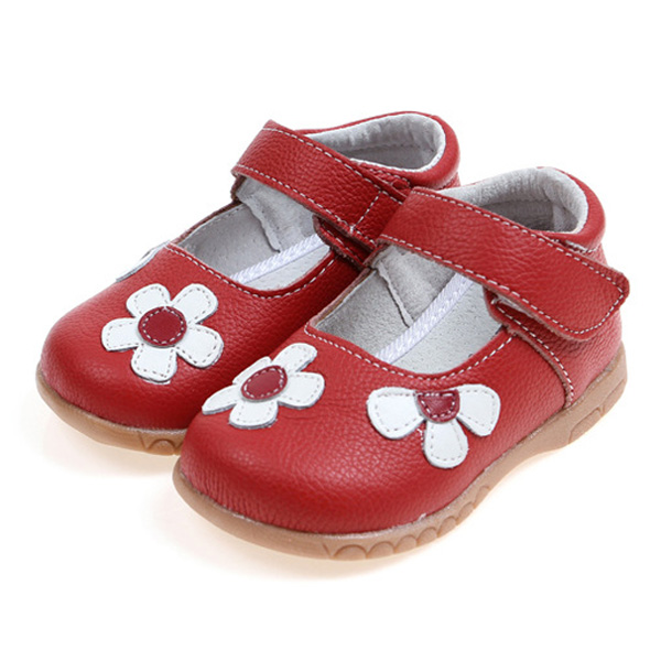 Cute Flower Artificial Leather Hook Loop Girls Dress Shoes