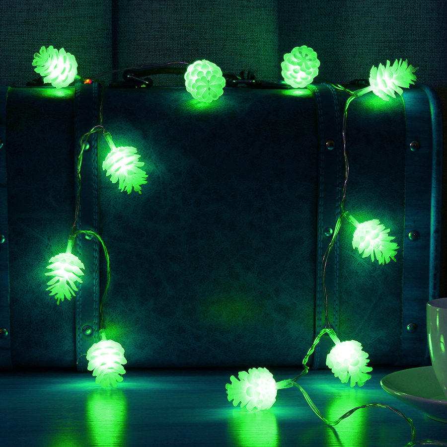 KCASA 2M 20 LED Pine Cone String Lights LED Fairy Lights for Festival Christmas Halloween Party Wedding Decoration Battery Powered