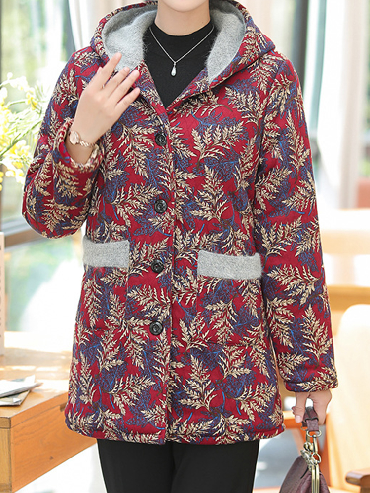 Women Floral Print Patchwork Button Long Sleeve Hooded Coats