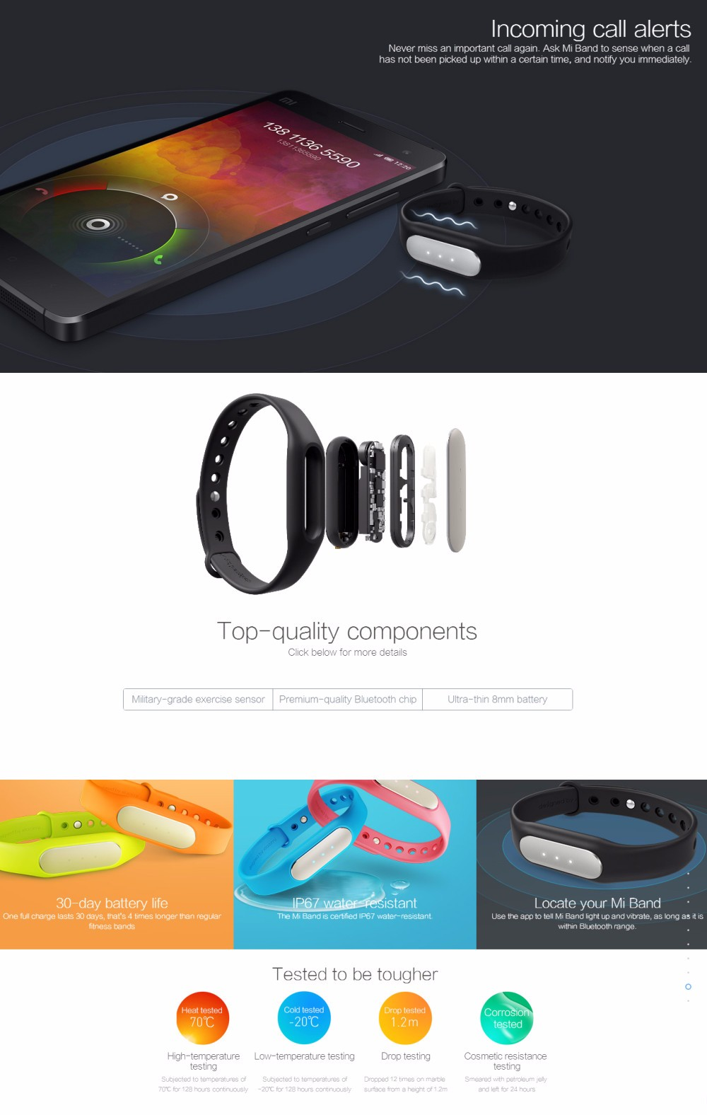 Original Xiaomi Light Sensitive Version Miband 1S Heart Rate Monitor bluetooth Smart Bracelet