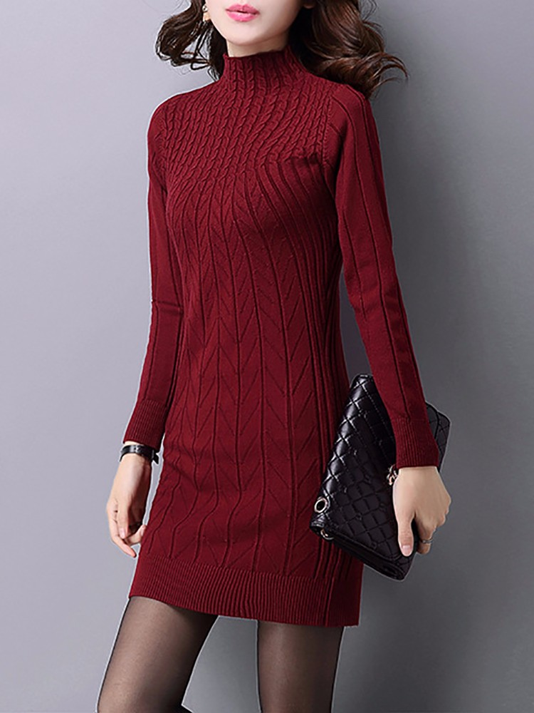 Sexy Slim Half Turtleneck Package Hip Knitted Pullover Dress