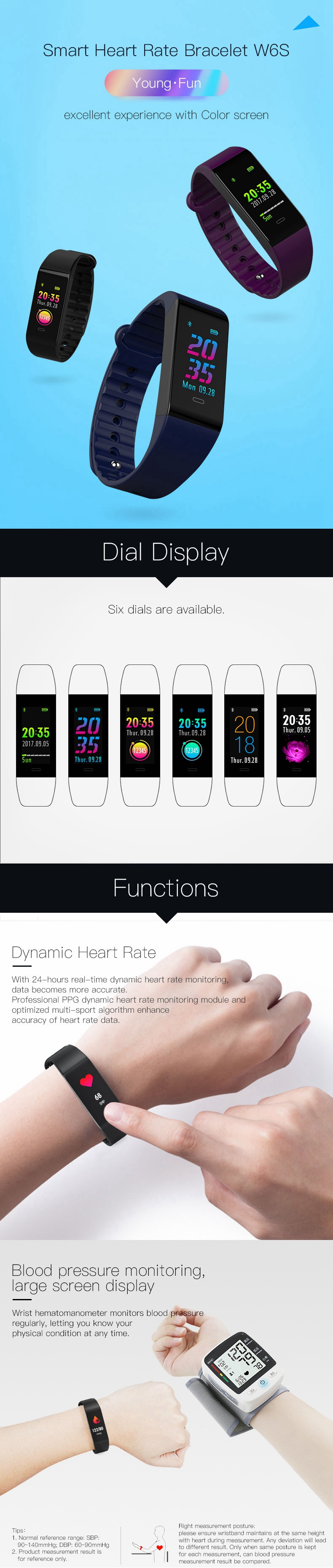 Bakeey W6S Color Screen Blood Pressure Heart Rate Monitor Fitness Tracker bluetooth Smart Wristband