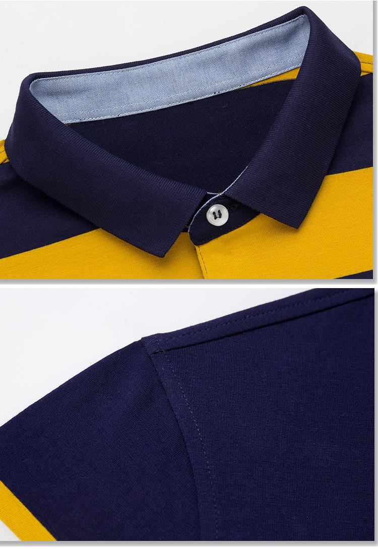 Casual Business Character Horse Embroidery LOGO POLO Shirt Men's Lapel Striped Long Sleeve T-Shirt