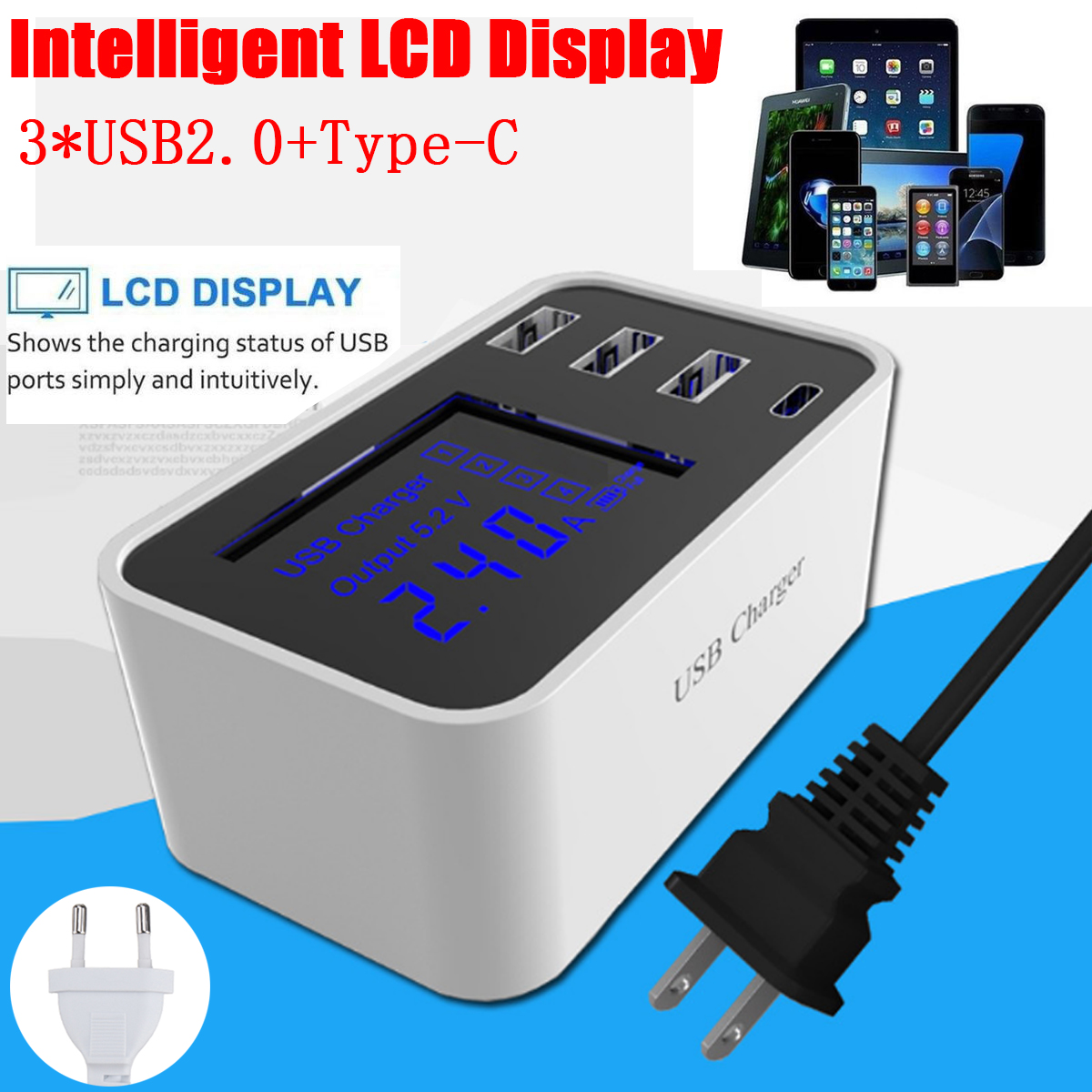 3 USB 2.0 Type C Smart IC LCD Display Charging Station Adapter Desktop Wall Charger for Smartphone