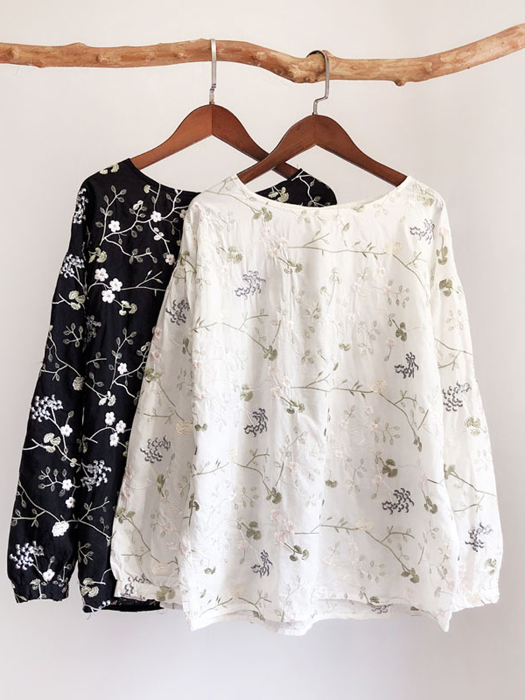 Cotton Linen Floral Embroidered Loose Long Sleeve Blouse