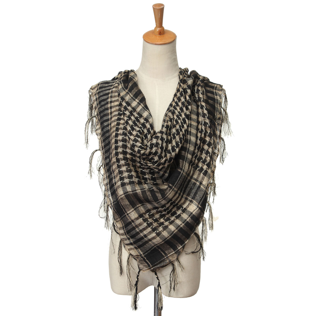 Unisex Women Men Army Military Tactical Arab Shemagh KeffIyeh Tassel Shawl Wrap Stole Scarf