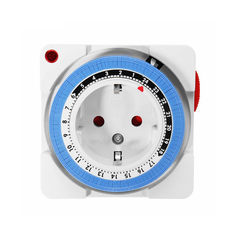 24-Hour 230V 16A Program Timer Socket Mechanical Outlet Timer EU Plug