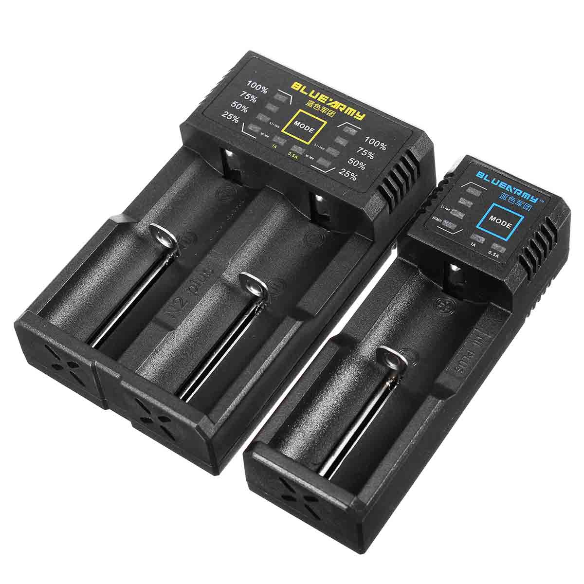Blue Army N1/N2 Plus Smart Battery Charger Single Double Slot for IMR/Li-ion/Ni-MH/Ni-Cd 26650 18650