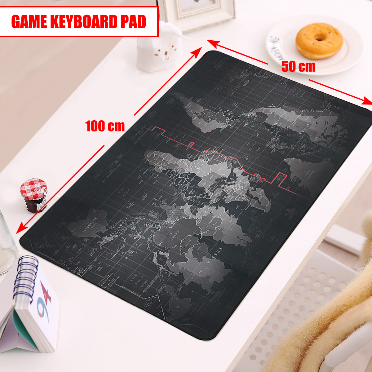 1000*500*2mm Super Large Size Anti-slip World Map Mouse Pad Keyboard Mat