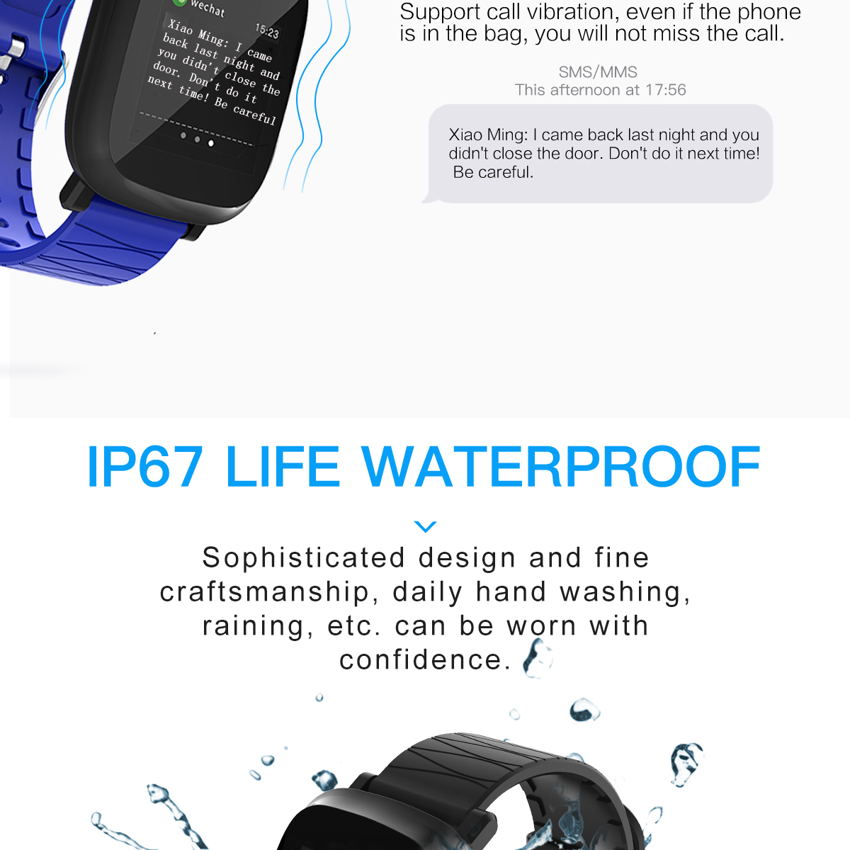 Bakeey M30 1.3' Sleep HR Blood Oxygen Pressure Monitor IP67 Waterproof Message Alarm Smart Watch