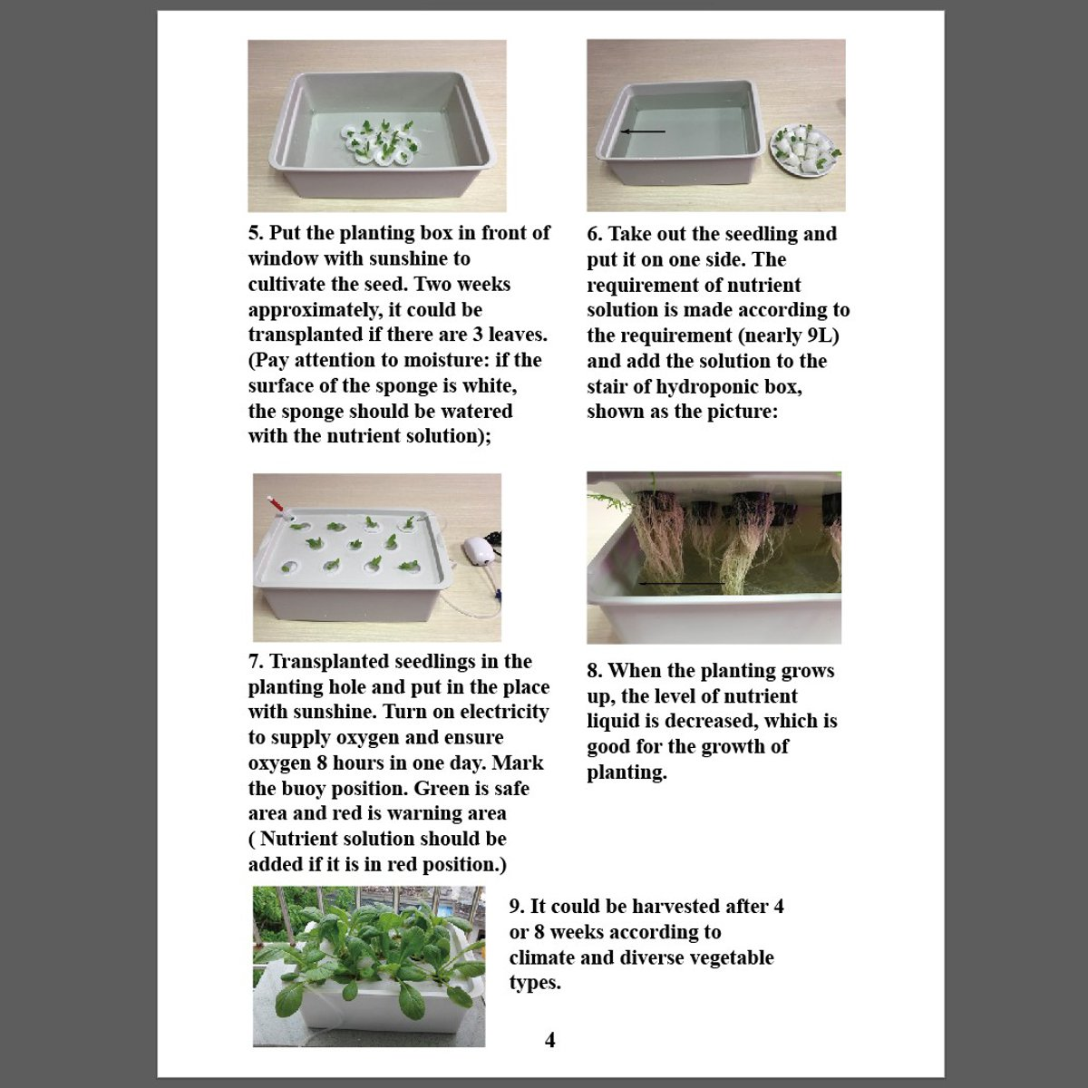 220V Hydroponic Grow Box 9 Holes DWC Indoor Aerobic Soilless Cultivation System Kit Water Planting