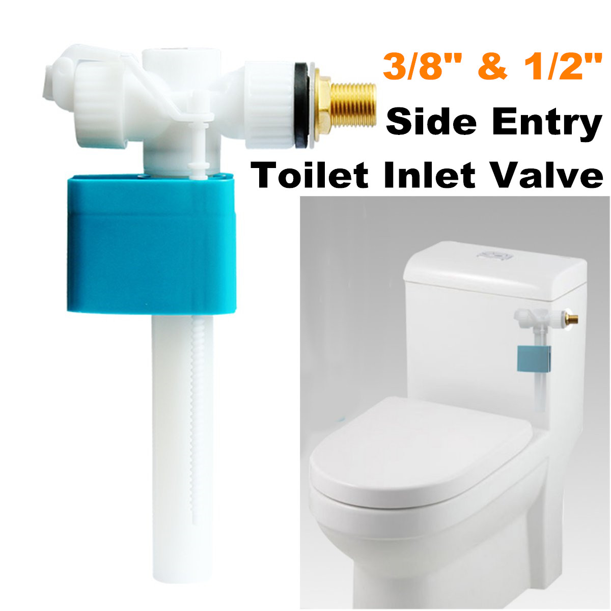 Toilet Cistern 3/8 1/2 Inch Water Tank Side Bottom Entry Inlet Fill Float Water Valve Controller