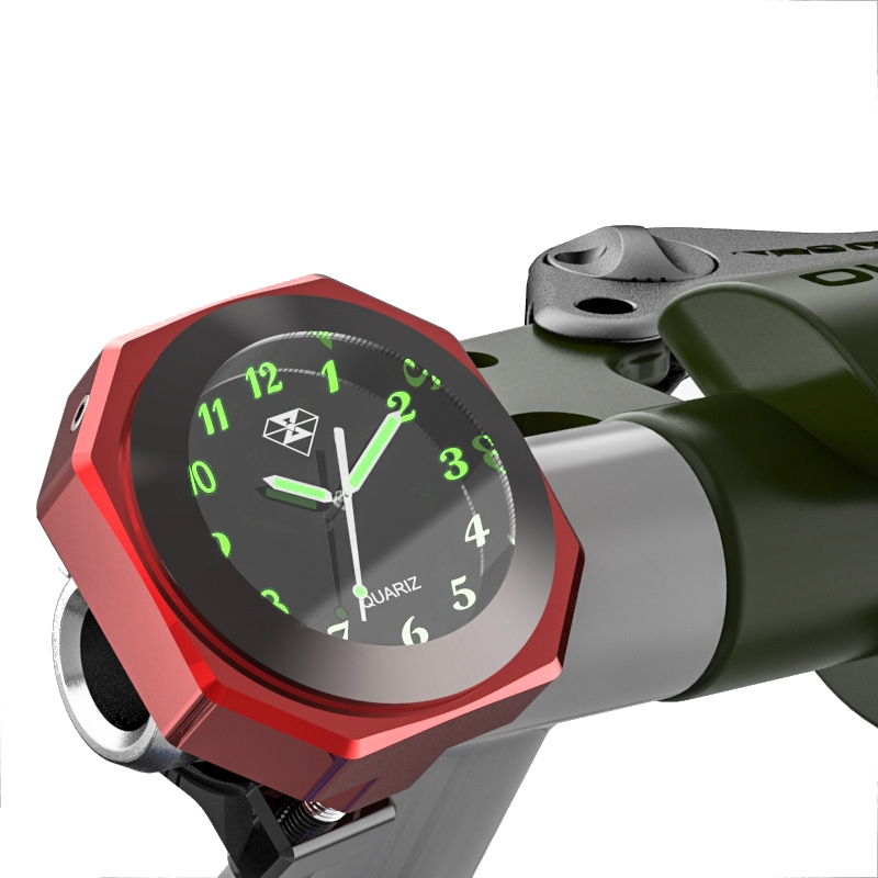 7/8inch 1inch Motorcycle Luminous Handlebar Mount Clock Watch Aluminum Alloy