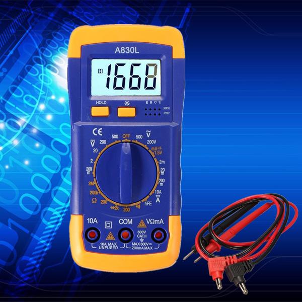A830L Digital LCD Multimeter Voltmeter Ammeter OHM AC DC Circuit Volt Tester Checker