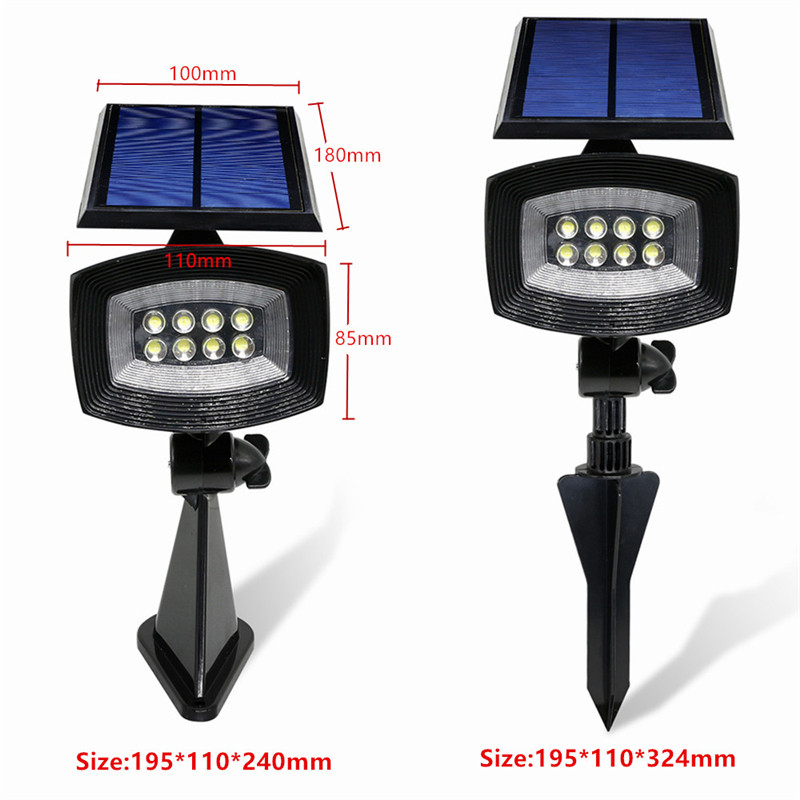 8 LED Pure White Solar Spotlightt Outdoor Garden Lawn Landscape Path Lamp