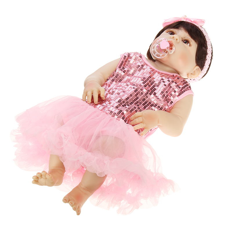 57cm Reborn Babe Full Vinyl Soft Silicone Body Newborn Baby Doll Toy Birthday Christmas Gifts