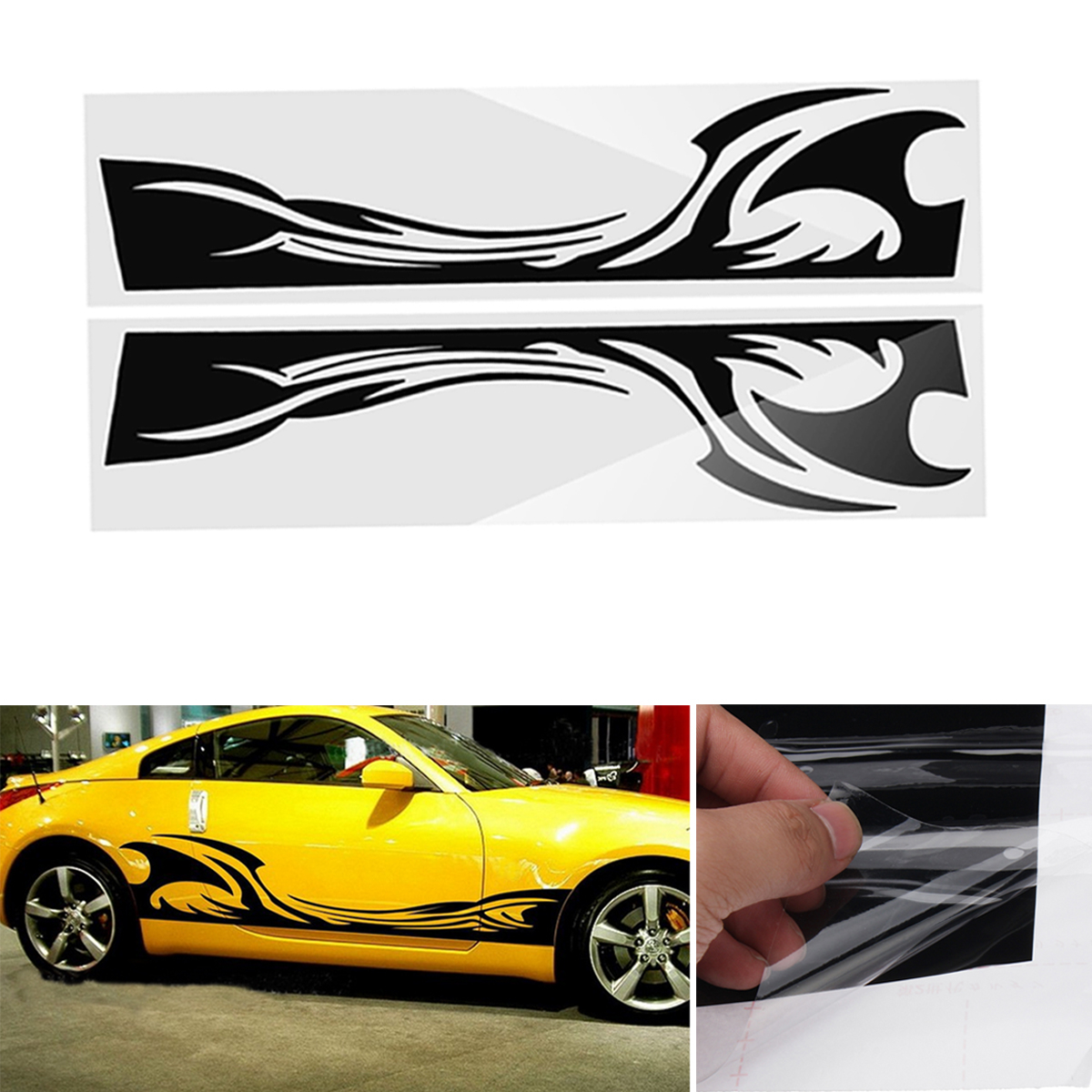 210cm*38cm Sports Stripe Pattern Style Car Stickers Vinyl Decal for Race SUV Side Body