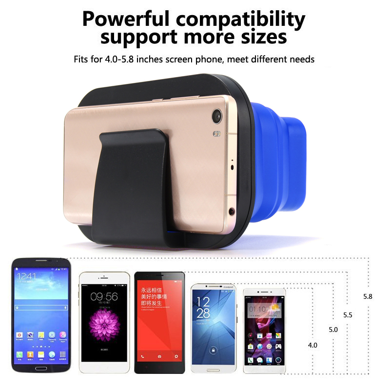 3D Foldable Silicone Virtual Reality BOX for 4.0 to 5.8 Inches Mobile Phone