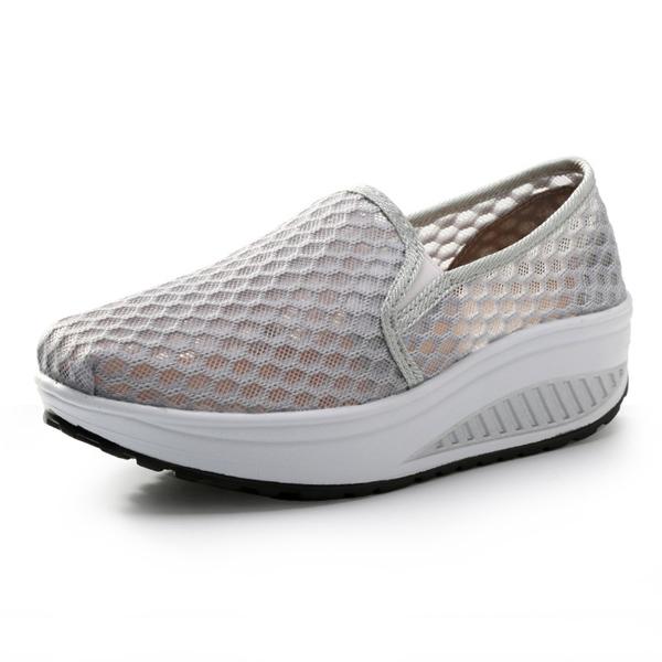 Women Slip On Mesh Rocker Sole Shoes Outdoor Sport Shoes