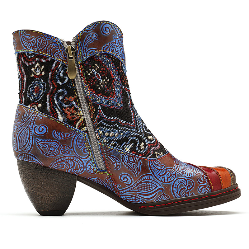 SOCOFY Jacquard Splicing Pattern Genuine Leather Ankle Boots