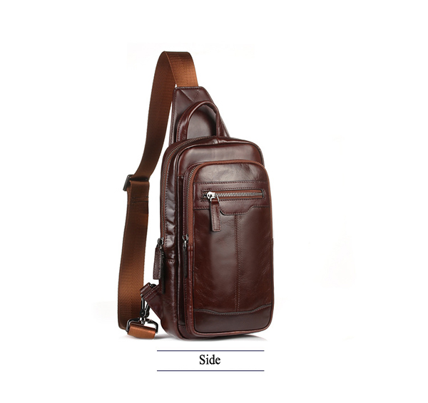 Men Genuine Leather High Quality Chest Bag Shoulder Bag Fashion Vintage Crossbody Bag