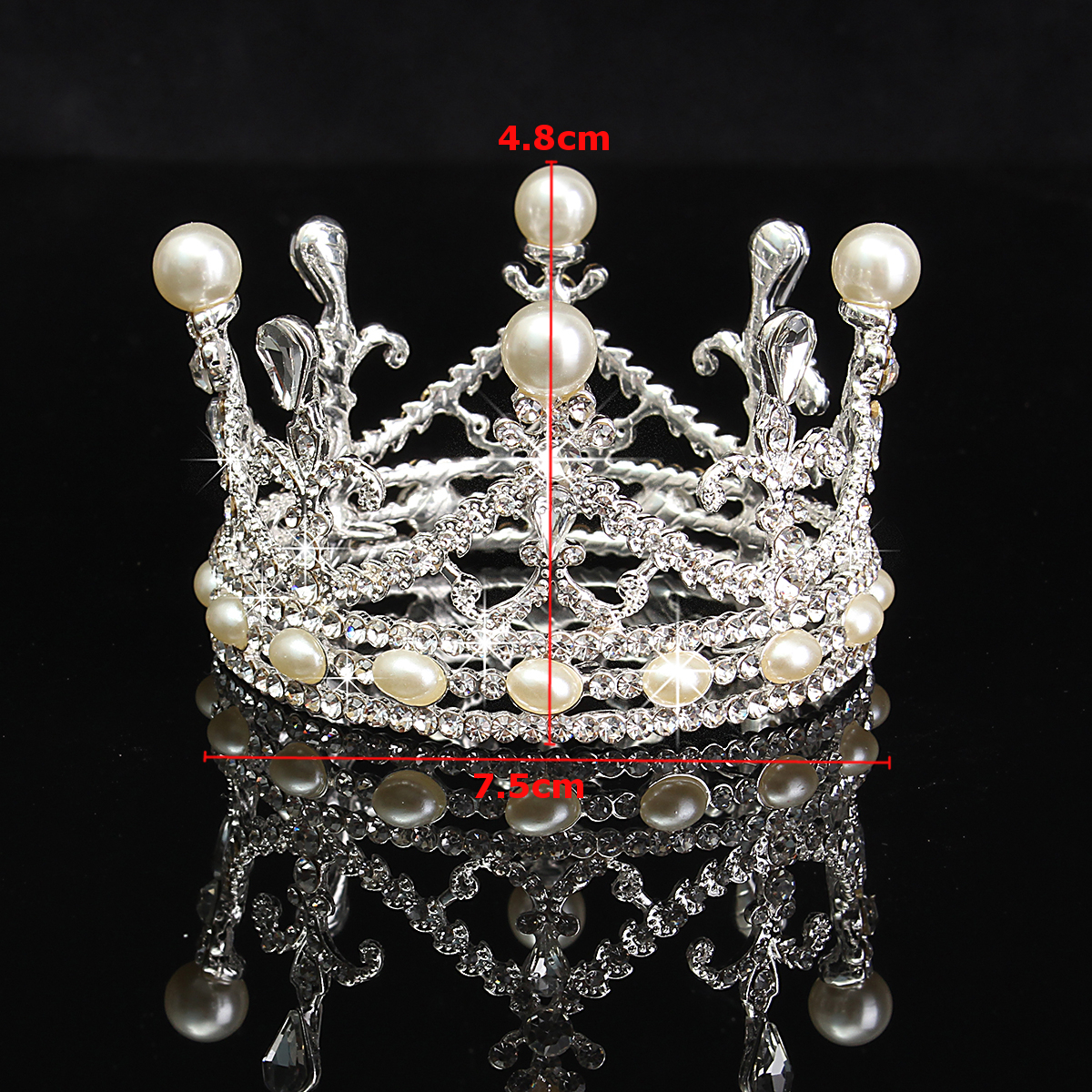 Bride Rhinestone Diamond Pearl Crown Tiara Head Jewelry Princess Queen Headpiece Wedding Accessories