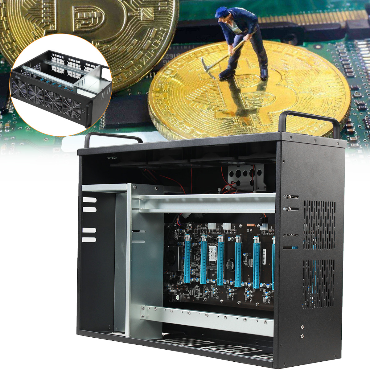 Mining Rig Miner Mining Machine Chassis Mounting BTC IC6S Motherboard Supporting Up To 8 GPUs