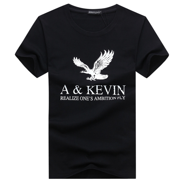 Mens Eagle Letter Printing Round Neck Tops Tees Fashion Casual Cotton Short Sleeve T-shirt