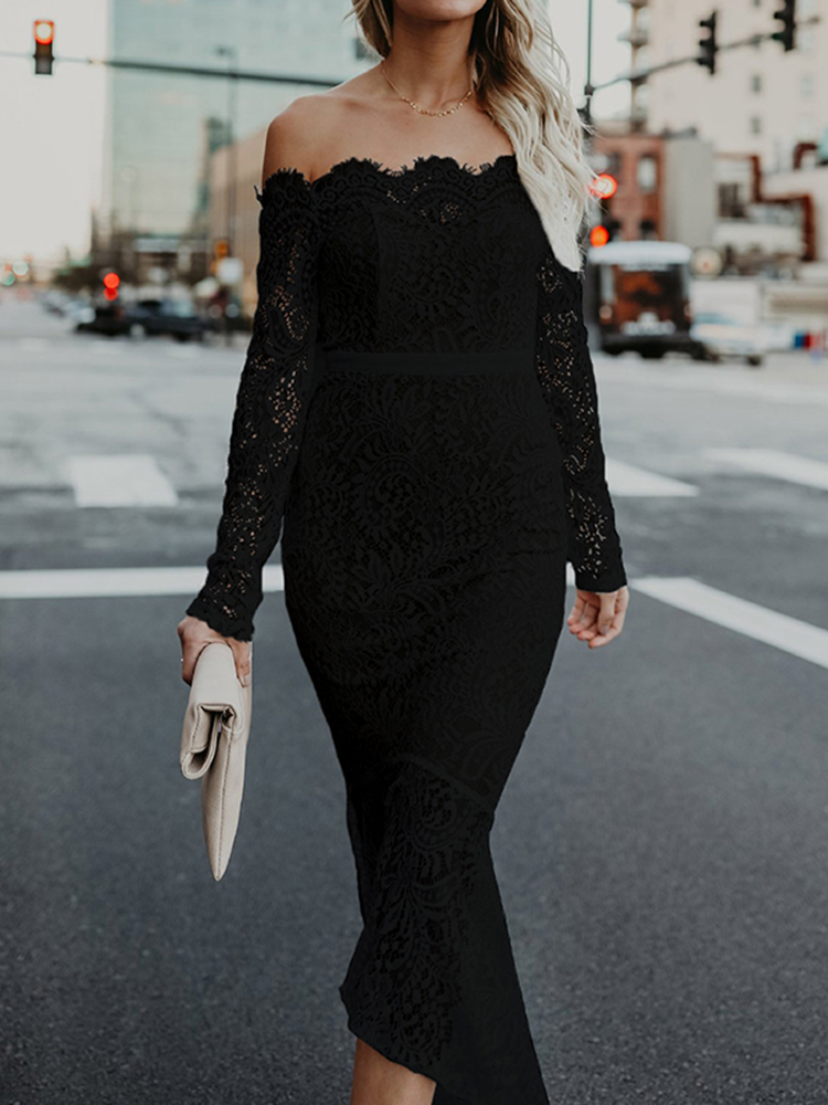 Women Sexy Off-shoulder Lace Pure Color Dress