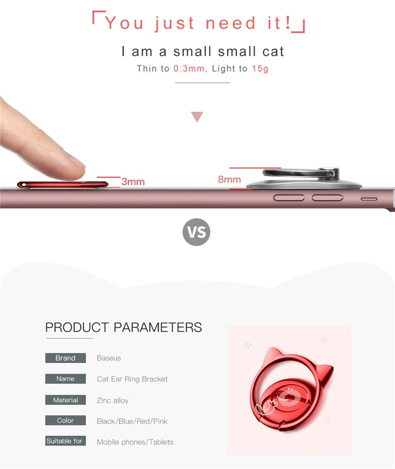 Baseus Cat Ear Portable Metal Ring Bracket Finger Ring Holder Phone Stand for iPhone Samsung Xiaomi